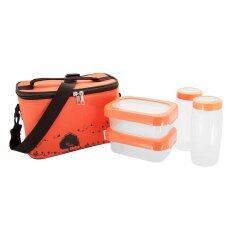 ทบทวน I Lock ชุดกล่องถนอมอาหารพร้อมขวดน้ำและกระเป๋าเก็บอุณหภูมิ รุ่น Pb 916 5 ชิ้น สีส้ม I Lock