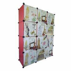 ซื้อ I Yo Diy Cabinet ตู้เสื้อผ้า ตู้เก็บของ 12 ช่อง ลายวินเทจ สีแดง ออนไลน์