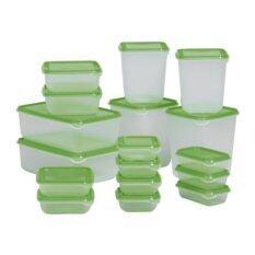 ราคา Ikea พรูทต้า ชุดกล่องอาหาร 17 ชิ้น เก็บอาหารได้ทั้งร้อนและเย็น เข้าไมโครเวฟได้ สีเขียว เป็นต้นฉบับ Ikea