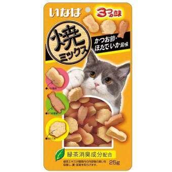 INABA ขนมแมว soft bits ปลาทูน่า และเนื้อสันในไก่ ผสมปลาโอแห้ง หอยเชลล์ ปลาหมึก 25g ( 3 units )-