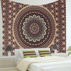 อินเดีย Ombre Mandala Hippie Gold สีดำแขวนผนังผ้าตกแต่งผนังห้องนอนตกแต่ง (