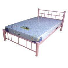ราคา Inter Steel โครงเตียง เตียงเหล็ก 4ฟุต รุ่น ล็อตเต้ สีชมพู Inter Steel