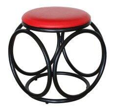 ซื้อ Inter Steel เก้าอี้เหล็ก เบาะกลมสตูล โครงดำ เบาะฟองน้ำ รุ่น Balloon สีแดง ใหม่
