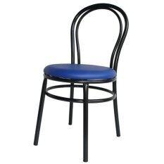 ขาย ซื้อ ออนไลน์ Inter Steel เก้าอี้เหล็ก มีพนักพิง รุ่น Big Queen สีดำ เบาะสีน้ำเงิน