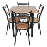 โปรโมชั่น Inter Steel ชุดโต๊ะกินข้าว 4ที่นั่ง ชุดCh111 Nature75X75 โครงสีดำ ท็อปไม้ยางธรรมชาติ Inter Steel