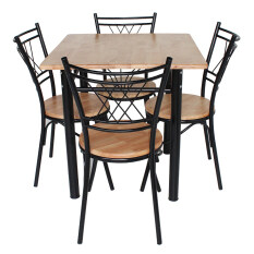 ซื้อ Inter Steel ชุดโต๊ะกินข้าว 4ที่นั่ง ชุดCh111 Nature75X75 โครงสีดำ ท็อปไม้ยางธรรมชาติ Inter Steel
