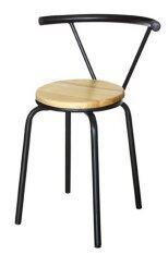 Inter Steel เก้าอี้เหล็ก มีพนักพิง รุ่น Dimond โครงดำ - เบาะไม้ยางพาราสีธรรมชาติ.