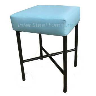 Inter Steel เก้าอี้สตูลนั่ง รุ่น Stool-MX(35x35x50cm.) โครงขาเหล็กFoldingสีดำ - เบาะฟองน้ำหนา11cm.หุ-