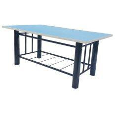 ราคา Inter Steelโต๊ะกลางโซฟา โครงเหล็ก หน้าท้อปไม้ รุ่นT Sofao5080ขาดำ ท้อปสีฟ้า Inter Steel เป็นต้นฉบับ