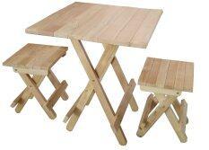 ซื้อ Intrend Design ชุดโต๊ะสนามปิคนิค เก้าอี้2ตัว ขาพับได้ ไม้ยางพารา สีธรรมชาติ ไทย