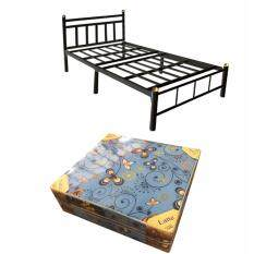 ขาย Iso ชุดเตียงเหล็ก 3 5 ฟุต รุ่นวินเทจ สีดำ พร้อม ที่นอนโฟม 3 5 ฟุต พับได้ สีฟ้า Iso ออนไลน์