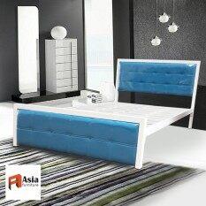 Iso เตียงเหล็กกล่อง หัวเบาะ 5 ฟุต รุ่นซินดี้ สีทูโทนขาว/ฟ้า By Asia Furniture.