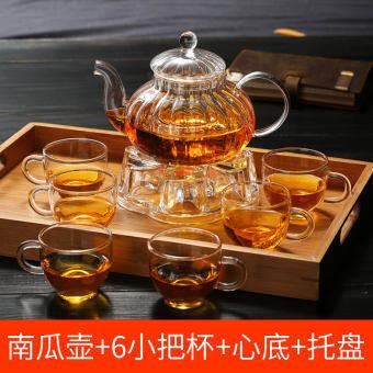 ! แฟชั่นแบบง่ายๆแก้วทนอุณหภูมิสูงถ้วยชากาต้มชาเซตหม้อฟักทองวัสดุดอกไม้หม้อเซต