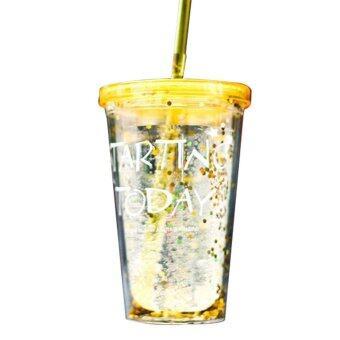 ขวดน้ำผลไม้ 450 มิลลิลิตรขวดน้ำพลาสติกที่มีถ้วยฟางไม่มี BPA ความคิดสร้างสรรค์แบบพกพาถ้วย-สีเหลือง- นานาชาติ
