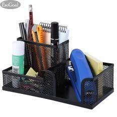 ทบทวน Jvgood โต๊ะทำงานอเนกประสงค์จัดเก็บกล่องใส่ปากกากรณี Black Round Steel Mesh Style Pen Pencil