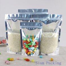 ขาย ขนาด 9X15 3 ซม Siam Packing ถุงหน้าใสหลังเงิน ซิปล็อค ตั้งได้ แพ็ค 100 ใบ