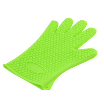 Kitchen Heat Resistant Silicone Glove Oven Pot Holder Baking BBQ Cooking Tool Green