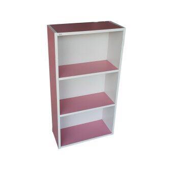 KK Shop ตู้ไม้3ชั้นโล่ง รุ่น Color box-Slim3shelf (สีชมพู)