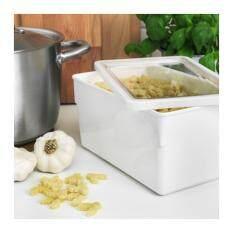 กล่องใส่อาหารแห้งพร้อมฝา, ขาว ขนาด 23x15x12 ซม.(me Time).