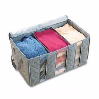 กล่องเก็บเสื้อผ้า กล่องเอนกประสงค์ 3 ช่อง สีเทา