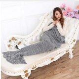 ขาย Knitted Mermaid Tail Blanket Handmade Crochet Blankets Wrap Super Soft Tv Air Condition Sleeping Bag Grey 195X95Cm ออนไลน์ ใน จีน
