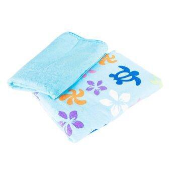 KOB กิ๊ฟเซ็ตผ้าเช็ดตัวไมโครไฟเบอร์และผ้าเช็ดผม - ลายเต่าและสีพื้นโทนฟ้า