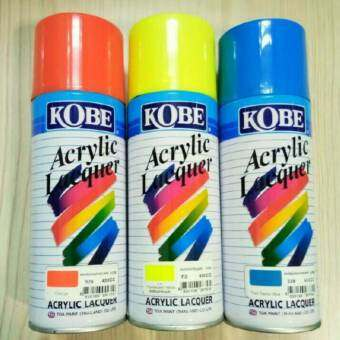 KOBEสีพ่นสเปรย์ สีเสปรย์ สีอะคริลิค ใช้งานได้หลากหลาย สีสวยสดทนนาน สีส้ม สีเหลืองสะท้อนแสง สีน้ำเงิน(3กระป๋อง)ราคาส่ง-