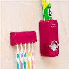 (แพ็คคู่ 2 ชิ้น) Korea Automatic Toothpaste Squeezer With 5 Toothbrush ที่ใส่แปรงสีฟัน บีบยาสีฟันอัตโนมัติ (red).