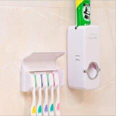 (สีขาว แพ็คคู่) Korea Automatic Toothpaste Squeezer With 5 Toothbrush ที่ใส่แปรงสีฟัน บีบยาสีฟันอัตโนมัติ(white)  .