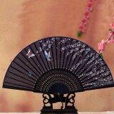 ขาย Lady Vintage Silk Butterflies Sakura Pattern Hand Fan Japanese Folding Fan Gift Blue And Sakura Intl ถูก จีน