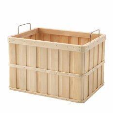 ขาย ลังไม้ กล่องไม้ ตะกร้า สีเนื้อไม้ 36X27X23 ซม ใหม่