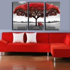 Large 3Pc Red Tree Hd Canvas Print Home Decor Wall Art Painting Picture No Frame Intl เป็นต้นฉบับ