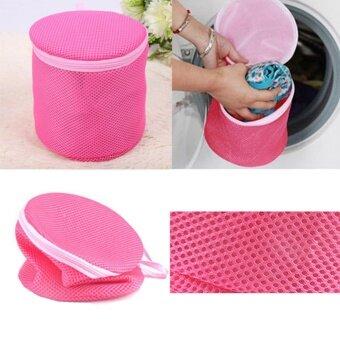ไนล่อนตาข่ายเสื้อผ้าเครื่องซักผ้า Launry ชุดชั้นในชุดชั้นในถุงซักผ้าปกป้องถุงซักรีดและตะกร้าล้างกระเป๋าตะกร้ากระเป๋าซิป(สุ่มสี)
