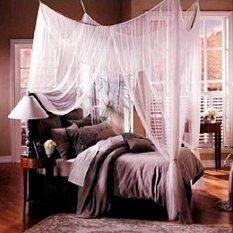 ราคา Leadingtrust White 4 Four Corner Canopy Bed Netting Mosquito Net Full Queen King Size Bed Intl Unbranded Generic จีน
