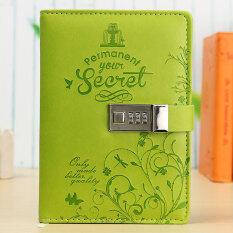 โปรโมชั่น Leather Business Diaries Journal Notebook Secret Diary With Password Lock Green Intl ใน Thailand