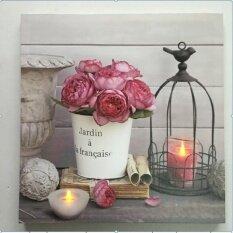 รูปภาพติดผนังมีไฟ Led รูปดอกไม้.