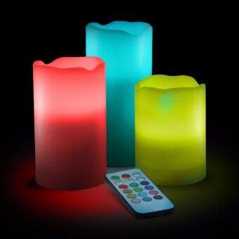 LED CANDLES แท่งเทียนไฟ LED เปลี่ยนสีได้ 12 สี 3 ขนาด บังคับด้วยรีโมท สำหรับเป็นเครื่องประดับตกแต่งบ้านและห้องนอน ร้านอาหาร