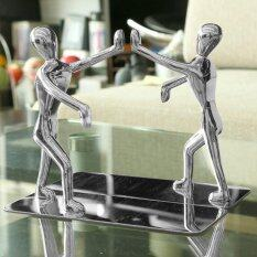 ส่วนลด Leegoal 2Pcs Stainless Steel Nonskid Bookends Office Library Decoration Kung Fu Man Bookends Silver Intl Leegoal ใน Thailand