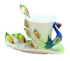 ส่วนลด Leegoal กระเบื้องเคลือบกระเบื้องฝีมือมือแก้วชากาแฟถ้วยเซ็ตด้วยช้อน และถ้วย สีเขียว 200 มล ในประเทศ