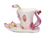 ขาย Leegoal Hand Crafted China Enamel Porcelain Tea Mug Coffee Cup Set With Spoon And Saucer Purple Intl ถูก