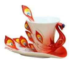 ขาย Leegoal Hand Crafted China Enamel Porcelain Tea Mug Coffee Cup Set With Spoon And Saucer Red Intl