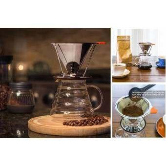Leegoal Pour Over Coffee FILTER, สแตนเลสสตีลกรวยกาแฟ   Dripper Reusable คู่ตาข่ายเทเครื่องชงกาแฟที่มีแยก   สำหรับ 1- 4 ถ้วย-