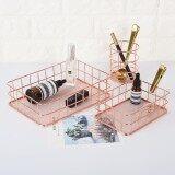 ราคา Leegoal Storage Basket Copper Wire Bathroom Shelves Makeup Organiser Rose Gold Brush Pen Holder Wire Mesh Bathroom Toiletries Storage Basket 24 5 16 5 6 5Cm Intl ออนไลน์ จีน