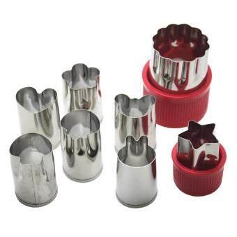 Leegoal ชุดตัดผัก, เด็กเล็กคุกกี้ Cutters ผลไม้กดแม่พิมพ์แสตมป์ชุด (รวม 1 ดอกไม้และ 7 การ์ตูน) - นานาชาติ