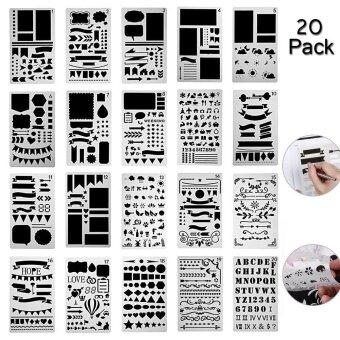 leegoal20 Pack Bullet Journal Stencil Set Plastic Template DIY Drawing Planner Journal/Notebook/Diary/Scrapbook/Art Craft Projects/Schedule Book 4x7 Inch - intl