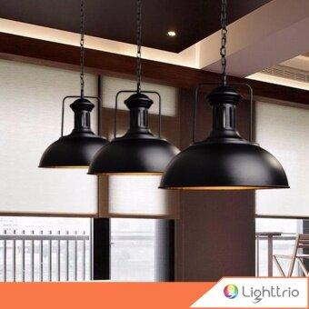 Lighttrio โคมไฟแขวนเพดาน สไตล์วินเทจLoft พร้อมหลอดไส้เอดิสัน 40 วัตต์ สีดำ รุ่น ATMOS
