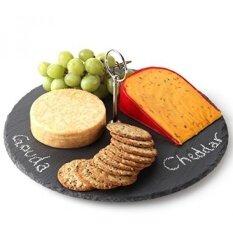 Lilys หน้าแรก Slate Cheese Board พร้อมชอล์ก, ถาดใส่ชีส, 12 นิ้วเส้นผ่าศูนย์กลาง - Intl.