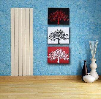 รูปแขวนผนังไม่ใช้ตะปู-รูปต้นไม้กราฟฟิกแดงดำ-ภาพติดผนังกรอบลอย-ภาพกรอบลอยแต่งกำแพงห้อง-เบาติดง่าย แค่ใช้เทปกาวพลังสูง-ภาพต้นไม้สามสี- (1 เซ็ท 4 ชิ้น)