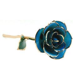 ราคา ยาวก้านดอก Dipped ตัดแต่งกุหลาบสีเขียวใบในกล่องของขวัญสีทอง สีฟ้าอ่อน ที่สุด
