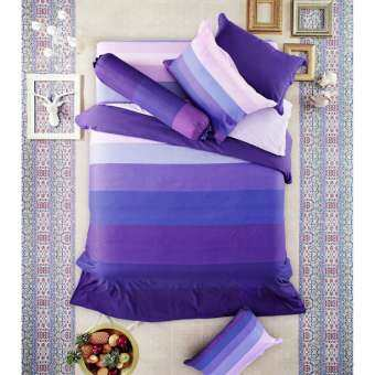 Lotus Impression รุ่น Stripies ชุดผ้าปูที่นอน ขนาด 3.5 ฟุต ลาย LI-SD-18B : โทนสีม่วงเข้ม
